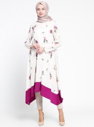 Floral Desenli Tunik - Ekru