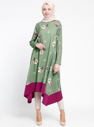 Floral Desenli Tunik - Haki