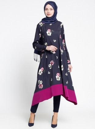 Floral Desenli Tunik - Lacivert Sevilay Giyim
