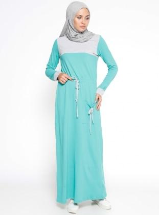 Garnili Elbise - Yeşil