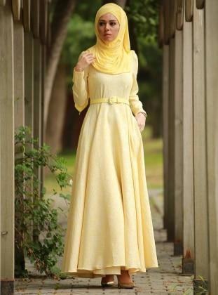 Gül Desenli Jakarlı Abiye Elbise - Sarı Mustafa Dikmen