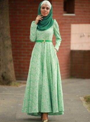Gül Desenli Jakarlı Abiye Elbise - Yeşil