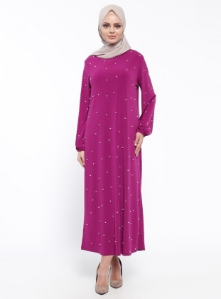 Tesse İnci Detaylı Elbise - Erguvan