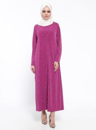 Tesse İnci Detaylı Elbise - Fuşya