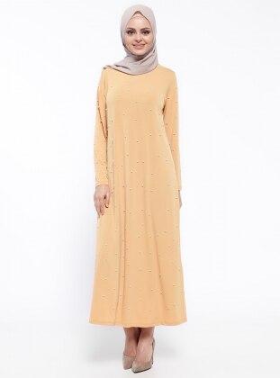 Tesse İnci Detaylı Elbise - Hardal