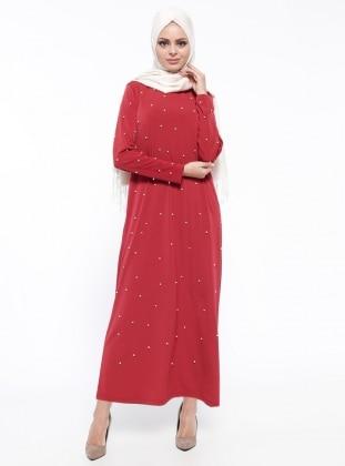 İnci Detaylı Elbise - Kiremit