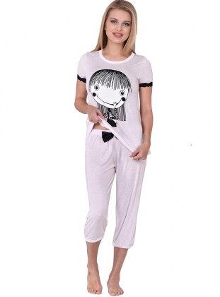 Lılle Kapri Pijama Takım - Pembe - I&D LINGERIE