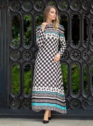 Mısra Elbise - Ekru Turkuaz Zehrace