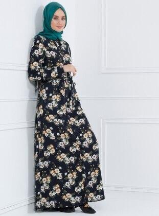 Naturel Kumaşlı Floral Desenli Elbise - Lacivert