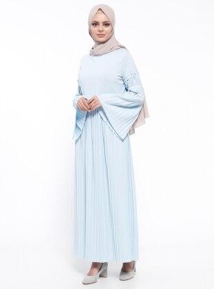 Piliseli Elbise - Mavi