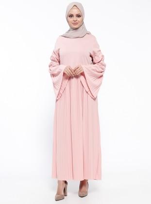 Piliseli Elbise - Pudra