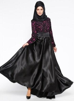 Simli Abiye Elbise - Siyah Fuşya