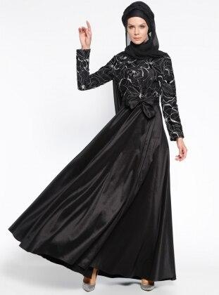 Simli Abiye Elbise - Siyah Gümüş