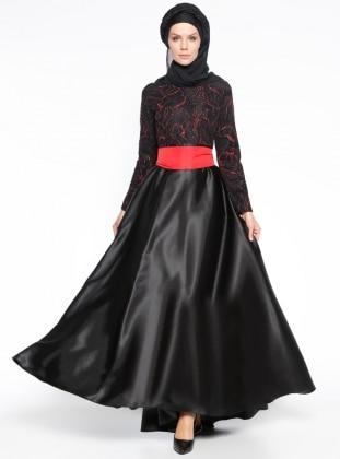 Meryem Acar Simli Abiye Elbise - Siyah Kırmızı