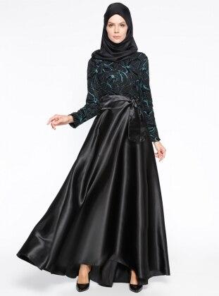 Simli Abiye Elbise - Yeşil Siyah