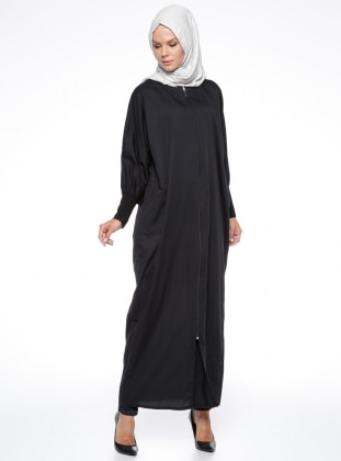 Black - Unlined - Crew neck - Abaya - ModaNaz 302780