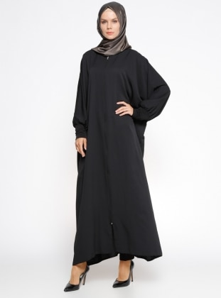 Black - Unlined - Crew neck - Abaya - ModaNaz 302781