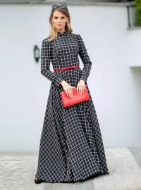 Navy Blue - Checkered - Crew neck - Fully Lined - Dresses