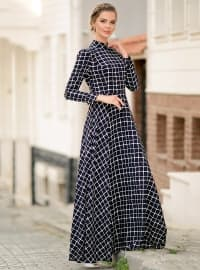 Black - Checkered - Crew neck - Fully Lined - Dress