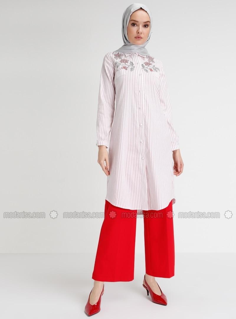 Red - Ecru - Stripe - Point Collar - Blouses