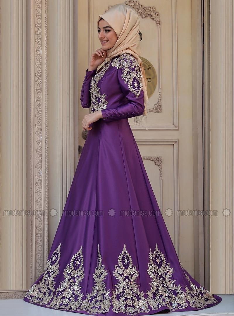 2ec77089ca Purple - Fully Lined - Crew neck - Muslim Evening Dress. Fotoğrafı büyütmek  için tıklayın