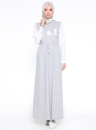 Beli Bağcıklı Elbise - Gri