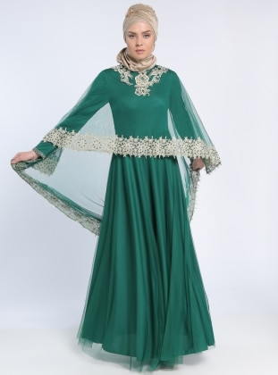 Green - Fully Lined - Crew neck - Muslim Evening Dress - MODAYSA 303483