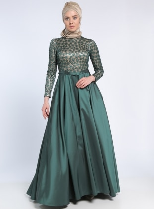 Fully Lined - Beige - Green - Crew neck - Muslim Evening Dress - MODAYSA 303474
