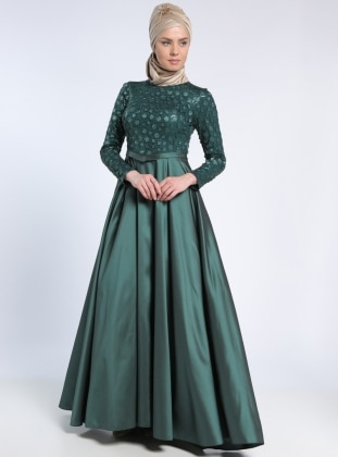 Green - Fully Lined - Crew neck - Muslim Evening Dress - MODAYSA 303476