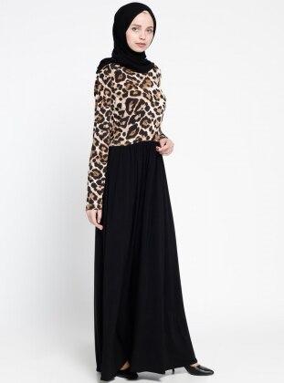 Fırfırlı Robadan Elbise - Siyah Bej