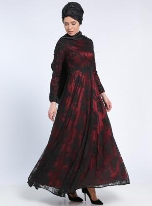 Güpür Aplikli Dantel Abiye Elbise - Siyah Bordo