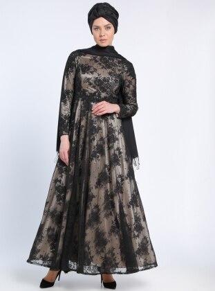 Güpür Aplikli Dantel Abiye Elbise - Siyah Vizon