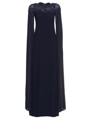Güpür Aplikli Şifon Uzun Kollu Elbise - Lacivert