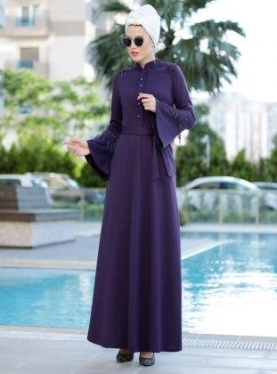Güpürlü Buğlem Elbise - Mor