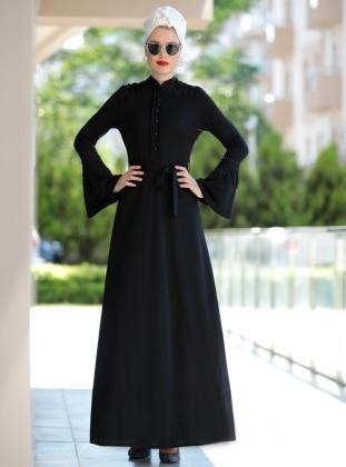 Selma Sarı Design Güpürlü Buğlem Elbise - Siyah
