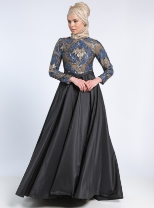 Fully Lined - Multi - Navy Blue - Black - Crew neck - Muslim Evening Dress