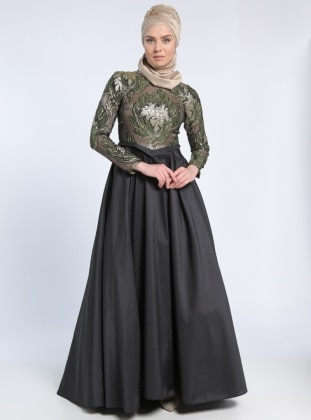 Fully Lined - Multi - Black - Green - Crew neck - Muslim Evening Dress - MODAYSA 303489