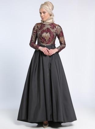 Jakarlı Tafta Abiye Elbise - Bordo