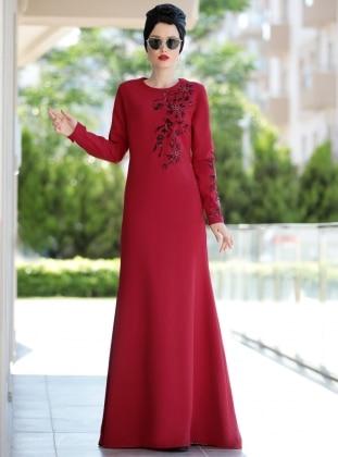 Nakışlı Eslem Elbise - Bordo