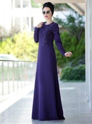 Nakışlı Eslem Elbise - Mor