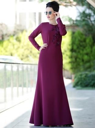Nakışlı Eslem Elbise - Mürdüm