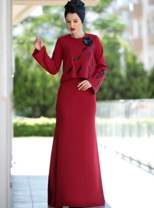Pul İşlemeli Bluz&Elbise İkili Takım - Bordo