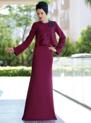 Pul İşlemeli Bluz&Elbise İkili Takım - Mürdüm