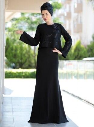 Pul İşlemeli Bluz&Elbise İkili Takım - Siyah