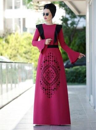 Selin Fırfırlı Elbise - Fuşya