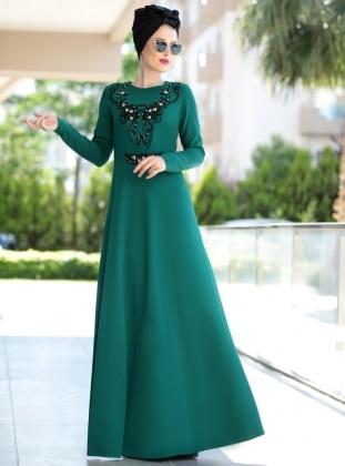 Taş Detaylı Güpürlü Elbise - Yeşil