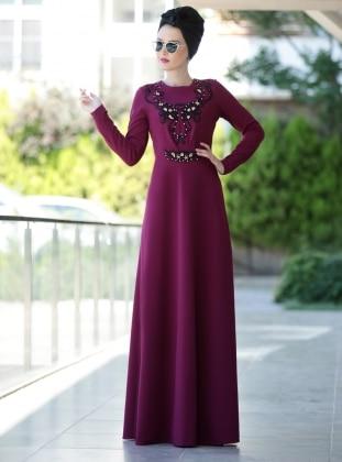 Taş Detaylı Güpürlü Elbise - Mürdüm