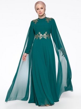 Green - Crew neck - Fully Lined - Muslim Evening Dress - MODAYSA 303494