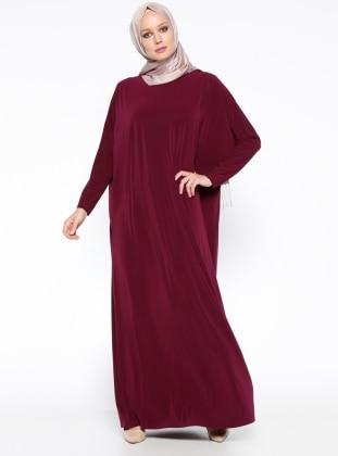 Yarasa Kollu Elbise - Mürdüm