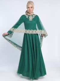 Boncuk İşlemeli Pelerinli Abiye Elbise -Yeşil - MODAYSA